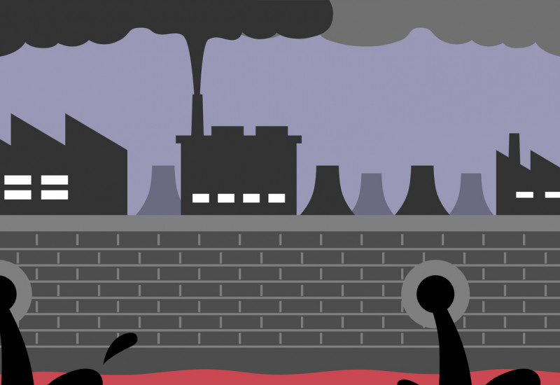 comic of factories that release black water into a polluted river