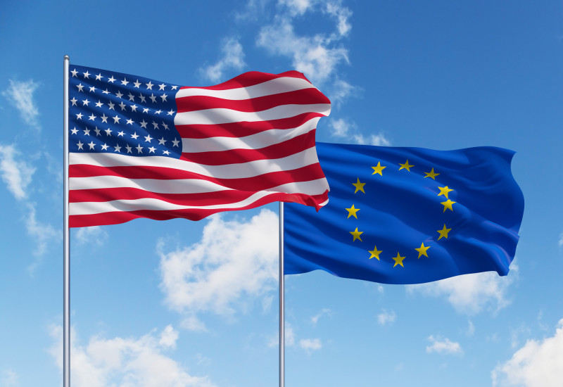 flag of the European Union and flag of the USA