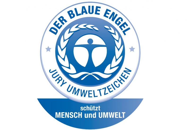 Logo des Umweltzeichens Blauer Engel bestehend aus einem stilisierten blauen Menschen in einem weiß-blauen Kreis mit einem beblätterten Zweig und der Aufschrift: Der Blaue Engel - Jury Umweltzeichen - schützt Mensch und Umwelt