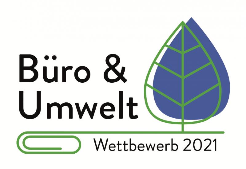 Logo des Wettbewerbs Büro und Umwelt: Titel des Wettbewerbs, ein Blatt sowie eine Büroklammer abgebildet