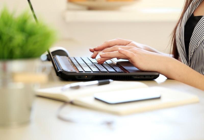 Eine Frau schreibt auf einem Notebook. Vor ihr steht ein Blumentopf mit einer Grünpflanze.