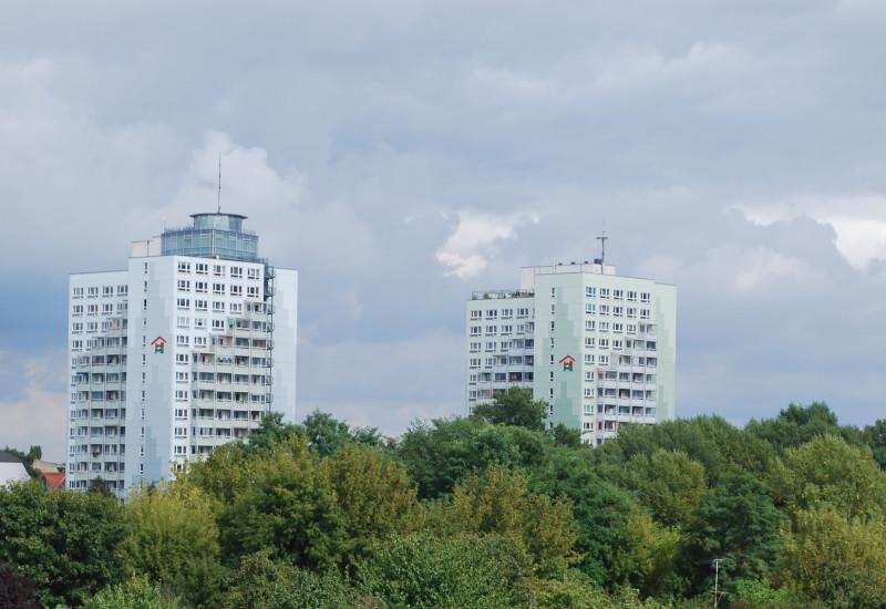 Zwei Hochhäuser im Hindergrund umgeben von einem dichten Baumbestand und einer Kleingartenanlage.