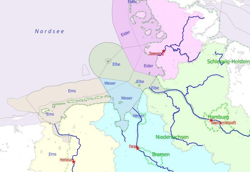 Die vier deutschen Hauptflüsse mit den Messstationen in den jeweiligen Flusseinzugsgebieten unterliegen einem Programm, das regelmäßig Überwachungsdaten an OSPAR liefert.