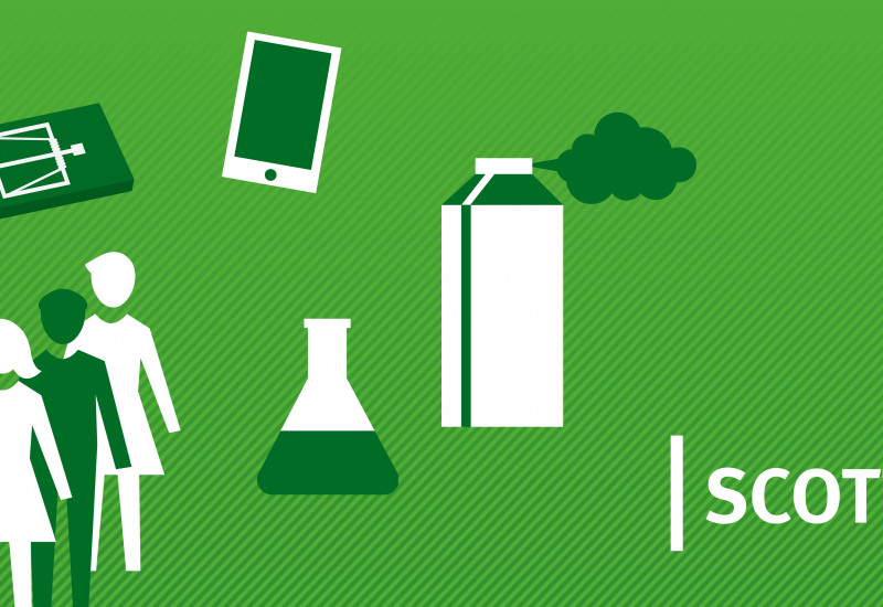 Icons describing alternatives for biocides and networking with stakeholders.