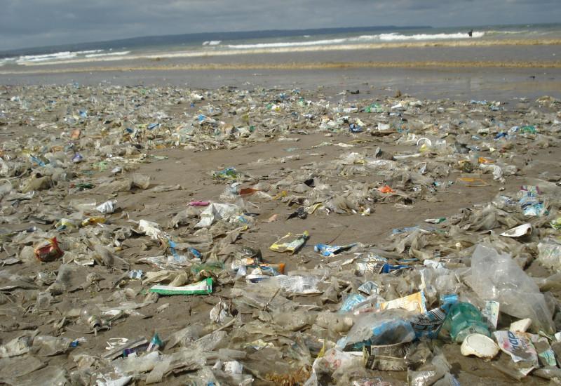 Ein schlammiger Strand übersät mit sovielen Plastiktüten, dass man den Sand nicht mehr sieht.
