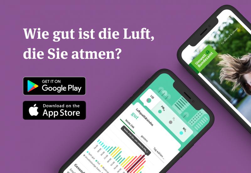 Zwei Smartphones auf lila-farbenem Hintergrund. Aufschrift: Wie gut ist die Luft, die sie atmen?