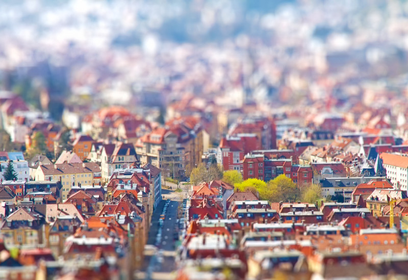 A city with red buildings from above