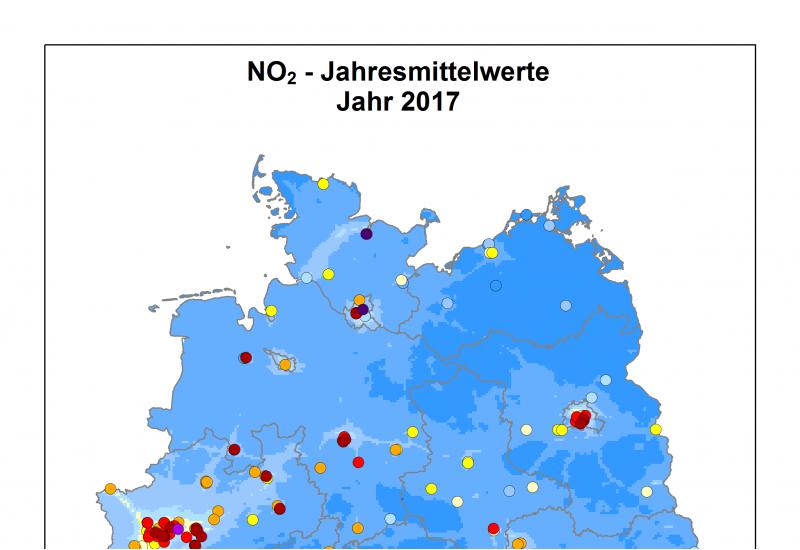 Stickstoffdioxid - Jahresmittelwerte 2017 - Deutschland