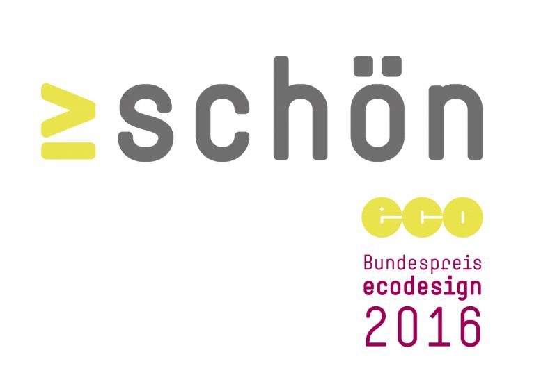 """Das Wort """"schön"""" als Logo des diesjährigen Bundespreis Ecodesign."""