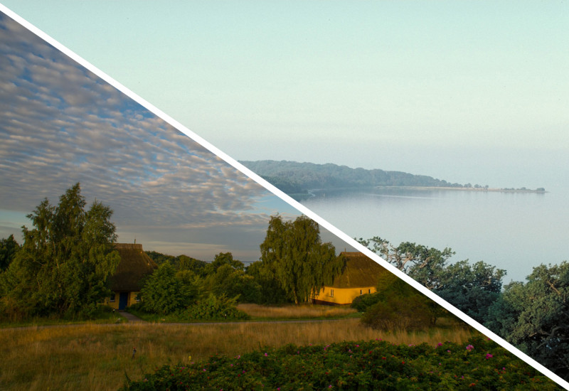 two Pictures: Coast of Vilm and small land with houses