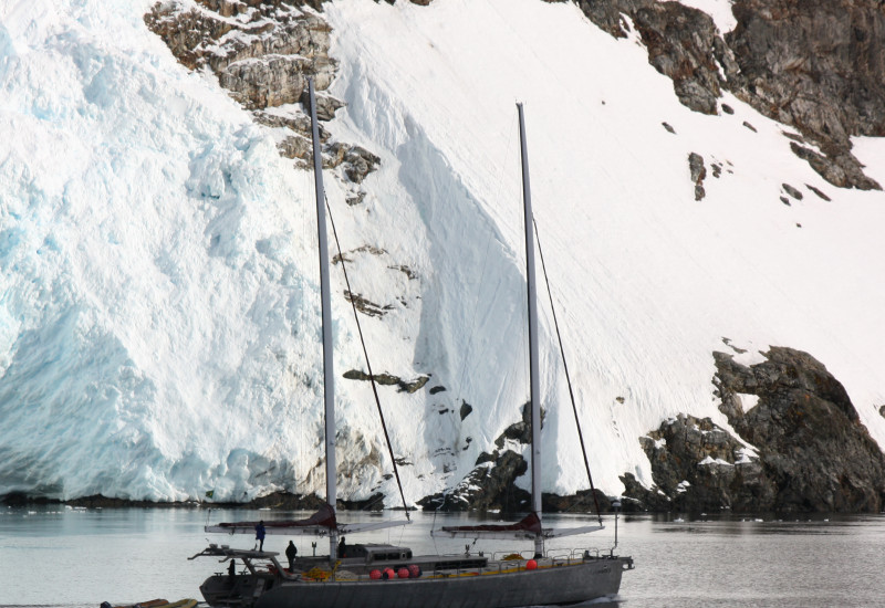 a private yacht in the Antarctic