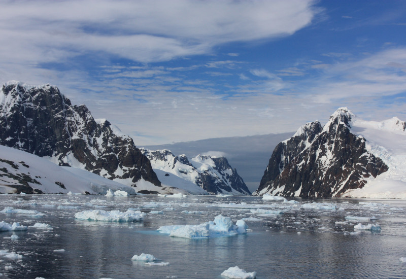 Das Bild zeigt eine Bucht in der Antarktis. Auf dem dunklen Wasser schwimmen Eisschollen. Im Hintergrund begrenzen Berge die Bucht.
