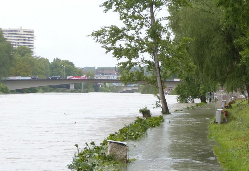 Es ist ein Gehweg zu sehen mit einem Grünstreifen. Dieser ist überschwemmt mit Wasser von dem anliegenden Fluss auf der linken Seite.