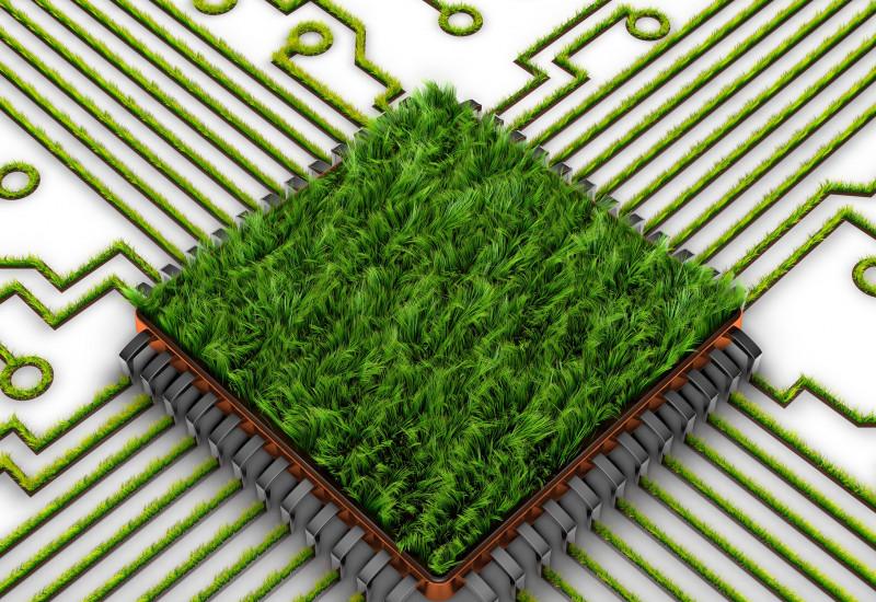 Computer-Platine, die mit Gras begrünt ist; die Vernetzungen, die zu der Platine hinlaufen, sind ebenfalls begrünt; einige Stränge enden im Bild