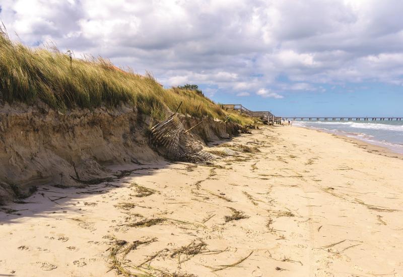 Das Bild zeigt eine schmale Sandküste. Der Dünenrand ist abgebrochen.