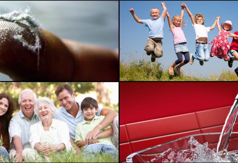 Collage mit Bildern zu Menschen im Grünen, Hausstaub und Trinkwasser