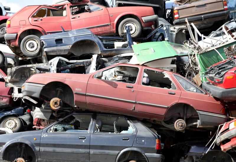 Pressed old cars in a junkyard