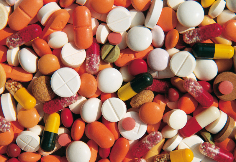 various colorful tablets and pills from the top