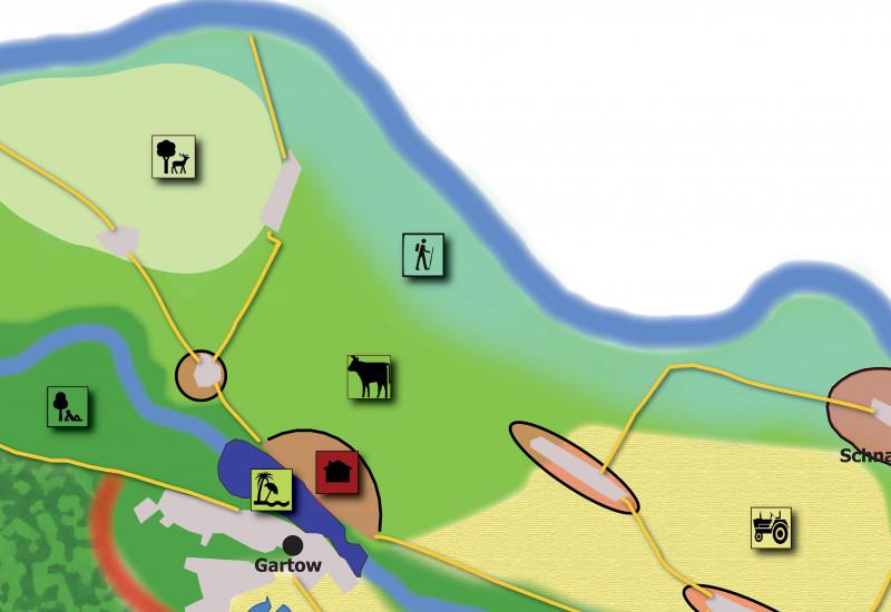 Auf einer Graphik ist ein Auschnitt aus dem klimaangepassten Leitbild für die Samtgemeinde Gartow dargestellt