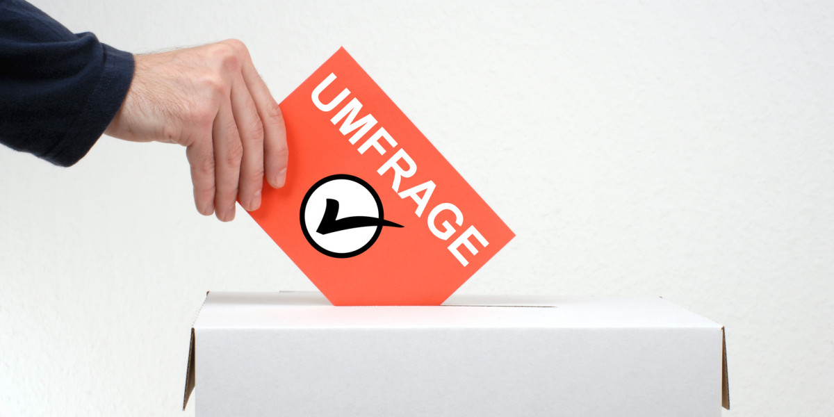 """eine Karte mit der Aufschrift """"Umfrage"""" und einem angehakten Kreis wird in eine Box geworfen"""