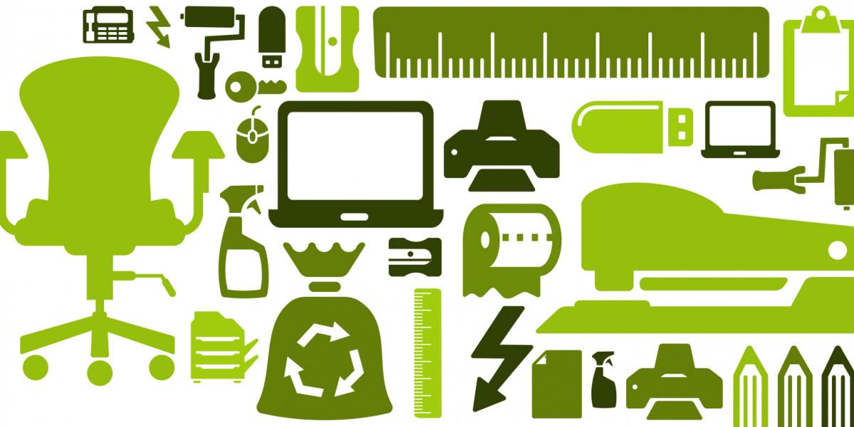 Das Symbolbild für umweltfreundliche Beschaffung zeigt unterschiedliches Büromaterial und Baumaterial