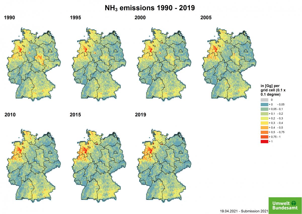 Deutschlandkarte Luftschadstoffbelastung Ammoniak (NH3)