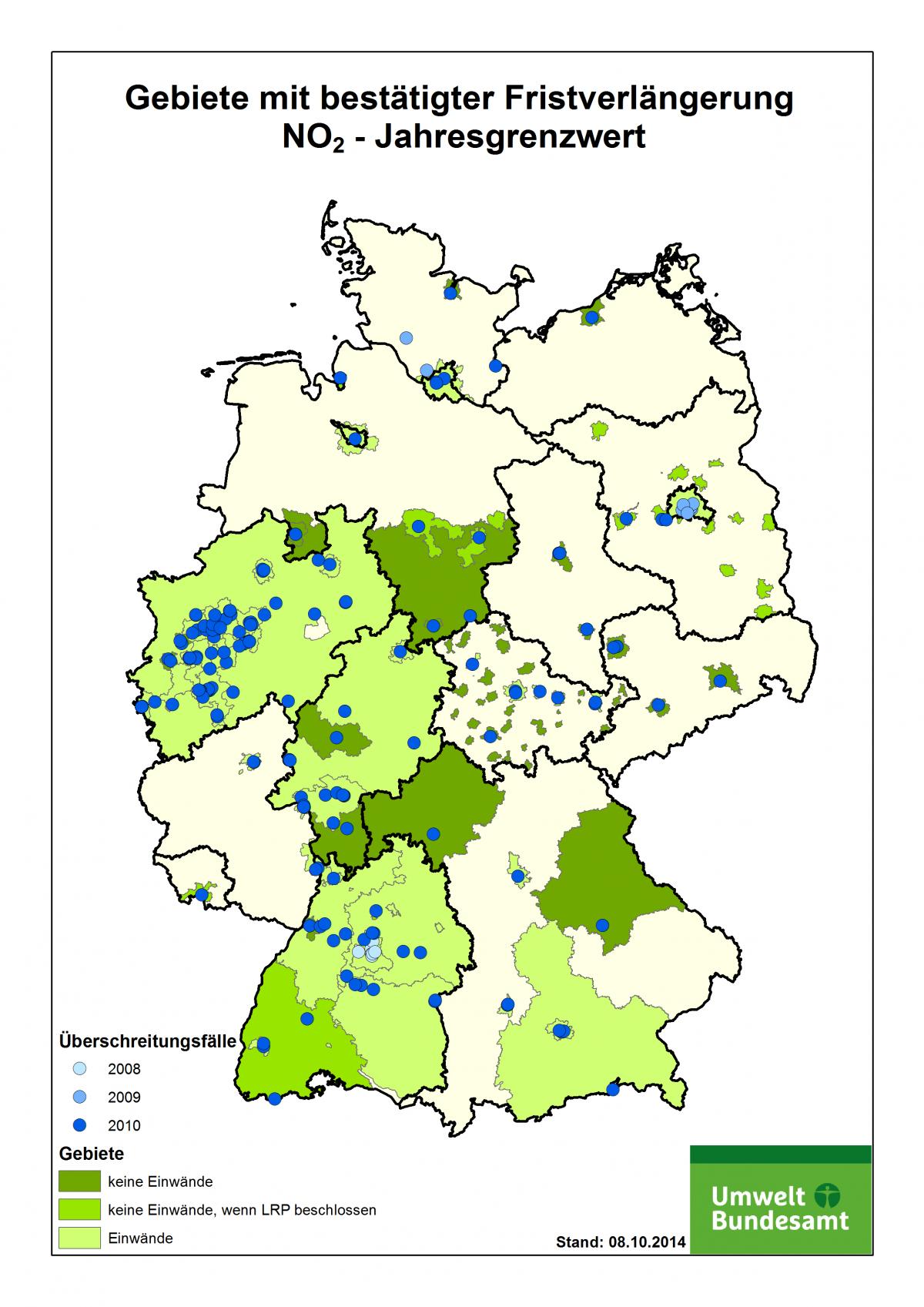 Eine Deutschlandkarte zeigt die Gebiete, die eine Fristverlängerung für den NO2-Jahresgrenzwert beantragt haben