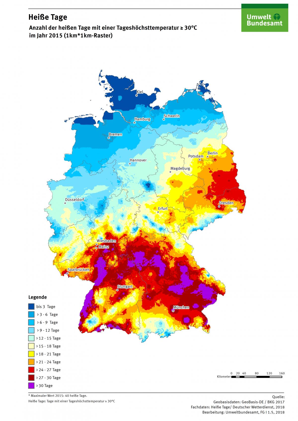 Die Karte zeigt die Anzahl Heißer Tage in Deutschland im Jahr 2015. Maximal gab es in diesem Jahr 40 Heiße Tage in Deutschland.