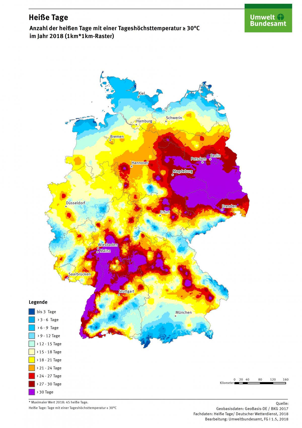 Die Karte zeigt die Anzahl Heißer Tage in Deutschland im Jahr 2018. Maximal gab es in diesem Jahr 45 Heiße Tage in Deutschland.