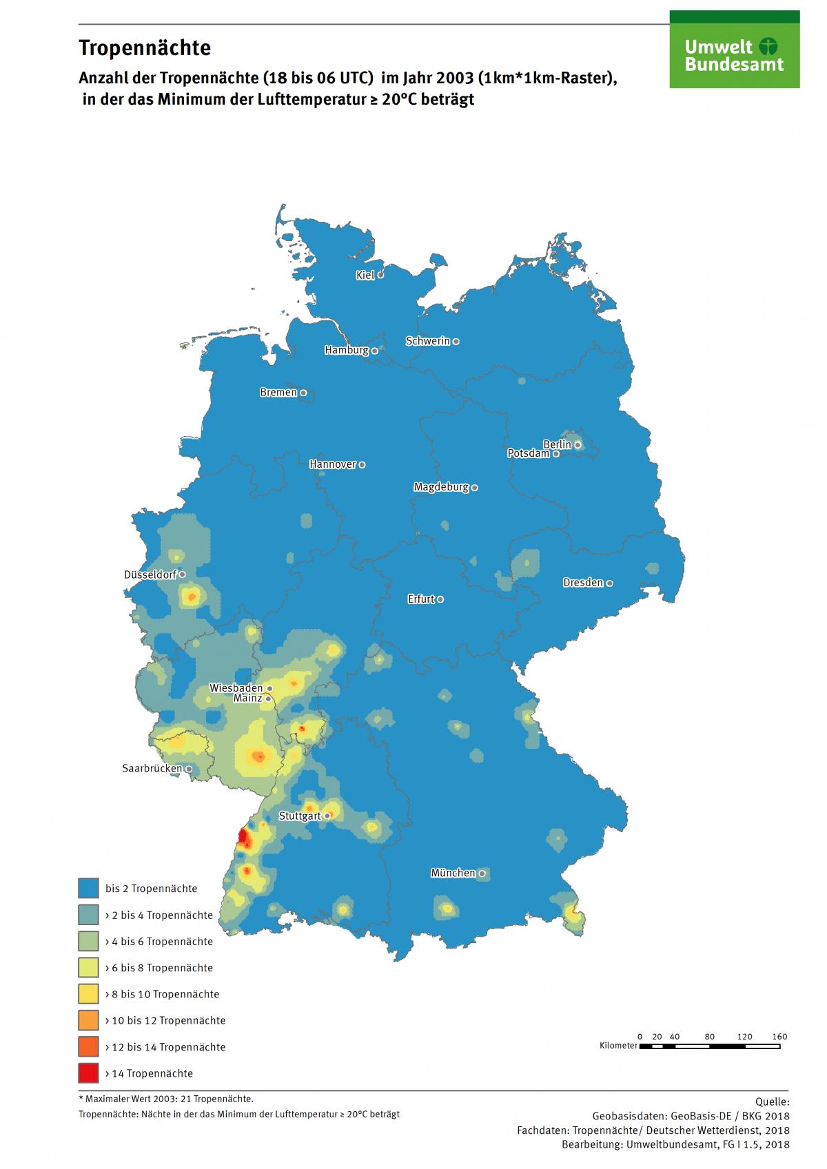 Die Karte zeigt die Anzahl der Tropennächte in Deutschland im Jahr 2003. In diesem Jahr gab es in einzelnen Regionen bis zu 21 Tropennächte.