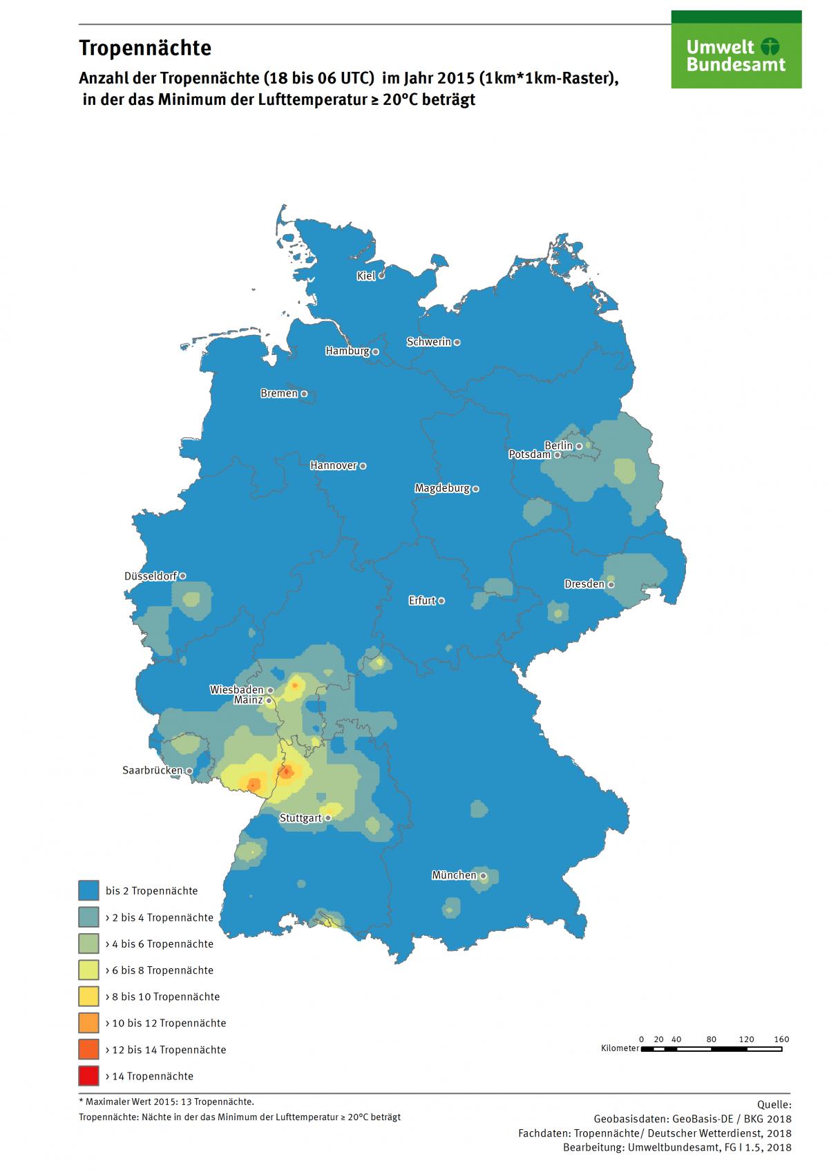 Die Karte zeigt die Anzahl der Tropennächte in Deutschland im Jahr 2015. In diesem Jahr gab es in einzelnen Regionen bis zu 13 Tropennächte.