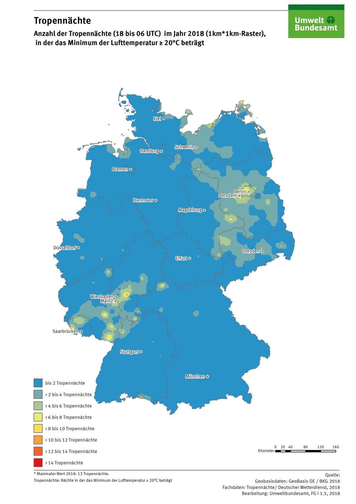 Die Karte zeigt die Anzahl der Tropennächte in Deutschland im Jahr 2018. In diesem Jahr gab es in einzelnen Regionen bis zu 13 Tropennächte.